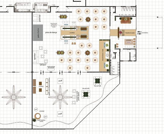 A Planta Baixa do projeto da decoração, feito pela Ideias de Evento!